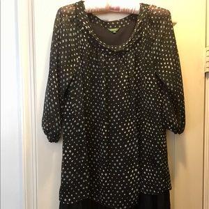 Black and white polka dot dress with ruffles